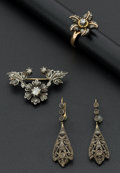 Estate Jewelry:Suites, Late Victorian Gold & Silver Brooch With Diamond, Ring &Earrings. ... (Total: 3 Items)