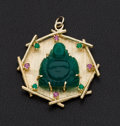 Estate Jewelry:Pendants and Lockets, Carved Jade Heavy Gold Pendant With Rubies & Emeralds. ...