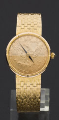 Timepieces:Wristwatch, Corum $10 Gold Piece Watch With 18k Gold Band. ...