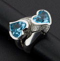 Estate Jewelry:Rings, Dramatic Blue Topaz Heart & Diamond 18k Gold Ring. ...
