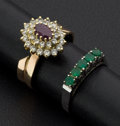 Estate Jewelry:Rings, Two 18k Gold Rings Emeralds & Ruby. ... (Total: 2 Items)