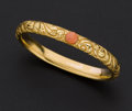 Estate Jewelry:Bracelets, Lady's Antique 14k Gold Bracelet With Coral. ...