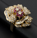 Estate Jewelry:Rings, Spectacular Diamond & Ruby Gold Ring. ...