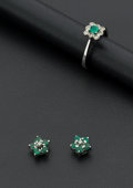 Estate Jewelry:Suites, Emerald Ring & Earrings In 18K White Gold. ... (Total: 2 Items)