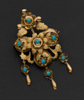 Estate Jewelry:Brooches - Pins, Victorian Gold & Turquoise Brooch. ...