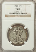 Walking Liberty Half Dollars: , 1921 50C VG10 NGC. NGC Census: (77/407). PCGS Population (110/648).Mintage: 246,000. Numismedia Wsl. Price for problem fre...