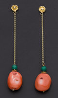 Estate Jewelry:Earrings, Coral & Malachite Long Dangle Earrings. ...