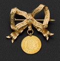Estate Jewelry:Brooches - Pins, Gold Ribbon Brooch With 1745 1/2 Gold Escudo Coin. ...