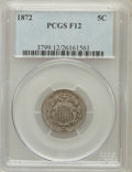 Shield Nickels: , 1872 5C Fine 12 PCGS. PCGS Population (3/353). NGC Census: (0/230).Mintage: 6,036,000. Numismedia Wsl. Price for problem f...