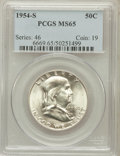 Franklin Half Dollars: , 1954-S 50C MS65 PCGS. PCGS Population (3629/191). NGC Census:(4739/393). Mintage: 4,993,400. Numismedia Wsl. Price for pro...