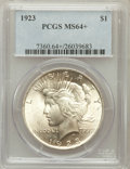 Peace Dollars, 1923 $1 MS64+ PCGS. PCGS Population (74490/16661). NGC Census:(130758/37204). Mintage: 30,800,000. Numismedia Wsl. Price f...