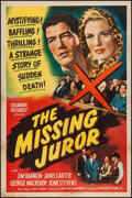 "Movie Posters:Mystery, The Missing Juror (Columbia, 1944). One Sheet (27"" X 41"").Mystery.. ..."