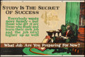 """Movie Posters:Miscellaneous, Study is the Secret of Success (Mather and Company, 1923). Motivational Poster (28"""" X 41.5""""). Miscellaneous.. ..."""