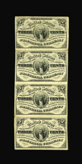 Fractional Currency:Third Issue, Fr. 1226 3c Third Issue Vertical Strip of Four Extremely Fine....