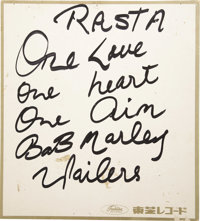 "Bob Marley Signed Card. This 9.5"" x 10.5"" piece of heavy cardstock with a gold border and Toshiba Records logo..."
