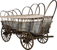 A CONESTOGA WAGON THAT WENT WEST ON THE OREGON TRAIL IN 1850 - Pioneers of the American 'West', which at the time of the...