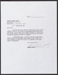 """Movie Posters:War, Apocalypse Now (United Artists, 1979). Signed Robert DuvallAgreement Letter. (8.5"""" X 11""""). War.. ..."""