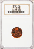 Proof Lincoln Cents: , 1937 1C PR65 Red NGC. NGC Census: (163/97). PCGS Population(397/178). Mintage: 9,320. Numismedia Wsl. Price for problem fr...