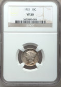 Mercury Dimes: , 1921 10C VF30 NGC. NGC Census: (35/188). PCGS Population (52/266).Mintage: 1,230,000. Numismedia Wsl. Price for problem fr...