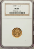 Liberty Quarter Eagles: , 1878-S $2 1/2 MS61 NGC. NGC Census: (135/169). PCGS Population(37/113). Mintage: 178,000. Numismedia Wsl. Price for proble...