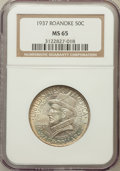 Commemorative Silver: , 1937 50C Roanoke MS65 NGC. NGC Census: (1491/1194). PCGS Population(2184/1445). Mintage: 29,030. Numismedia Wsl. Price for...