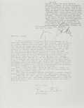 Autographs:Authors, Gay Talese, American Author. Typed Letter Signed Over RequestLetter. Very good....