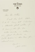 Autographs:Authors, John McPhee, American Writer. Autograph Letter Signed. Near fine....