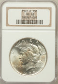 Peace Dollars: , 1922-D $1 MS63 NGC. NGC Census: (1563/3872). PCGS Population(2849/4374). Mintage: 15,063,000. Numismedia Wsl. Price for pr...