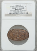 Expositions and Fairs, 1933 Century of Progress Exposition, Chicago, IL, Belgian VillageElongate MS63 Brown NGC. Struck on a 1927 Cent....