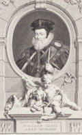 Fine Art - Work on Paper:Print, JACOBUS HOUBRAKEN (Dutch, 1698-1780). William Cecil, Lord Burleigh, 1738. Engraving. 26-1/2 x 20 inches (67.3 x 50.8 cm)...