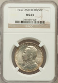 Commemorative Silver: , 1936 50C Lynchburg MS63 NGC. NGC Census: (166/2273). PCGSPopulation (492/3262). Mintage: 20,013. Numismedia Wsl. Pricefor...