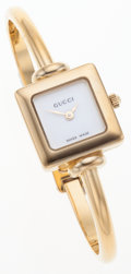 Luxury Accessories:Accessories, Gucci White Dial and Gold Case 1900L Watch . ...