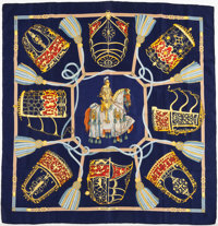 """Hermes Navy, Gold, and Red """"Les Muserolles"""" by Christiane Vauzelles Silk Scarf"""