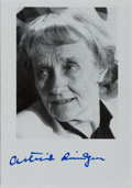 Autographs:Authors, Astrid Lindgren, Swedish Author of Pippi Longstocking Books.Signed Photograph. Fine....