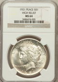 Peace Dollars: , 1921 $1 MS64 NGC. Ex: High Relief. NGC Census: (3348/1194). PCGSPopulation (3656/1319). Mintage: 1,006,473. Numismedia Wsl...