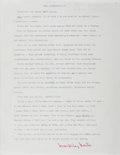 Autographs:Authors, MacKinlay Kantor, American Author. Typed Excerpt Signed fromAndersonville. Very good....