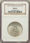 Commemorative Silver: , 1936-D 50C Rhode Island MS63 NGC. NGC Census: (86/1597). PCGSPopulation (336/2304). Mintage: 15,010. Numismedia Wsl. Price...