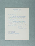 Autographs:Statesmen, Patricia Nixon, Wife of President Richard Nixon. Typed LetterSigned. Overall fine....