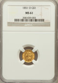 Gold Dollars: , 1851-O G$1 MS61 NGC. NGC Census: (108/261). PCGS Population(24/155). Mintage: 290,000. Numismedia Wsl. Price for problem f...