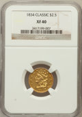 Classic Quarter Eagles: , 1834 $2 1/2 Classic XF40 NGC. NGC Census: (21/859). PCGS Population(48/591). Mintage: 112,234. Numismedia Wsl. Price for p...