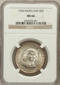 Commemorative Silver: , 1934 50C Maryland MS66 NGC. NGC Census: (491/85). PCGS Population(565/49). Mintage: 25,015. Numismedia Wsl. Price for prob...