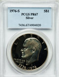 Proof Eisenhower Dollars: , 1976-S $1 Silver, Type One PR67 PCGS. PCGS Population (127/60). NGCCensus: (58/77). Mintage: 4,000,000. Numismedia Wsl. Pr...