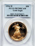 Modern Bullion Coins: , 1994-W G$50 One-Ounce Gold Eagle PR70 Deep Cameo PCGS. PCGSPopulation (145). NGC Census: (575). Numismedia Wsl. Price for...