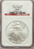 Modern Bullion Coins, 2002 $1 Silver Eagle, First Strike MS69 NGC. PCGS Population(2377/9). ...