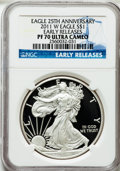 Modern Bullion Coins, 2011-W $1 25th Anniversary Silver Eagle, Early Releases PR70 UltraCameo NGC. NGC Census: (14955). PCGS Population (4387)....