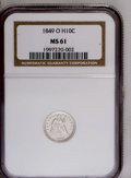 Seated Half Dimes: , 1849-O H10C MS61 NGC. NGC Census: (4/15). PCGS Population (0/12).Mintage: 140,000. (#4344)...