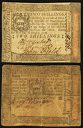 Colonial Notes:Pennsylvania, Pennsylvania October 1, 1773 18d Fine. Pennsylvania October 1, 17732s VF+.. ... (Total: 2 notes)