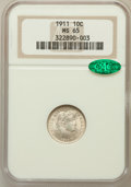Barber Dimes: , 1911 10C MS65 NGC. CAC. NGC Census: (134/55). PCGS Population(130/87). Mintage: 18,870,544. Numismedia Wsl. Price for prob...