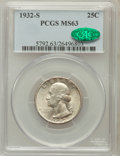 Washington Quarters: , 1932-S 25C MS63 PCGS. CAC. PCGS Population (946/1145). NGC Census:(489/682). Mintage: 408,000. Numismedia Wsl. Price for p...