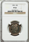 Proof Barber Quarters: , 1892 25C PR62 NGC. NGC Census: (18/236). PCGS Population (46/212). Mintage: 1,245. Numismedia Wsl. Price for problem free N...